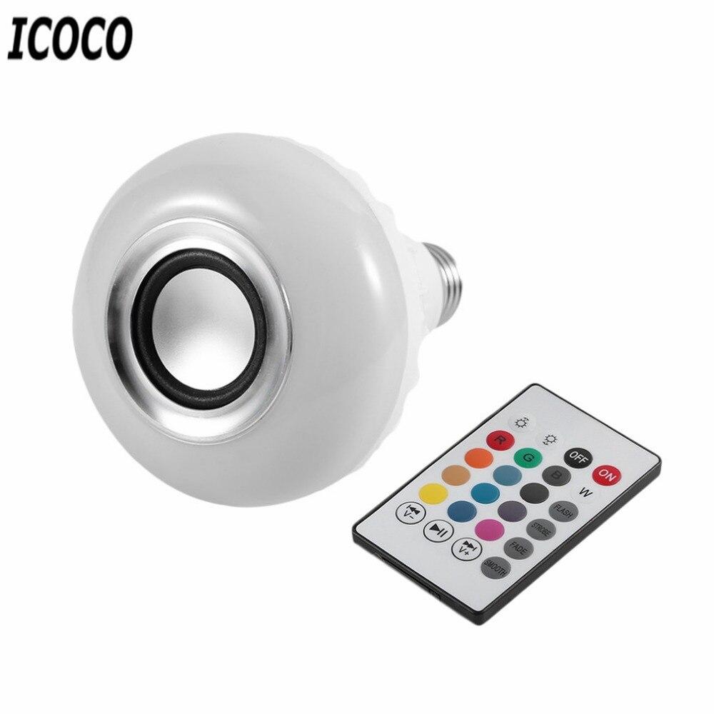 ICOCO Smart Wireless Bluetooth LED Stereo Audio Speaker RGB Colorful Bulb 12W 28 LEDs Light Beads