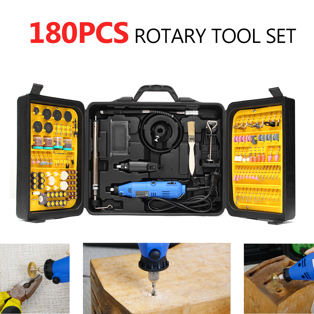 Rechargeable 180Pcs Rotary Power Tool Set Electric Drill Grinder Engraver Sander Polisher Craving DIY Power Tools Accessorie