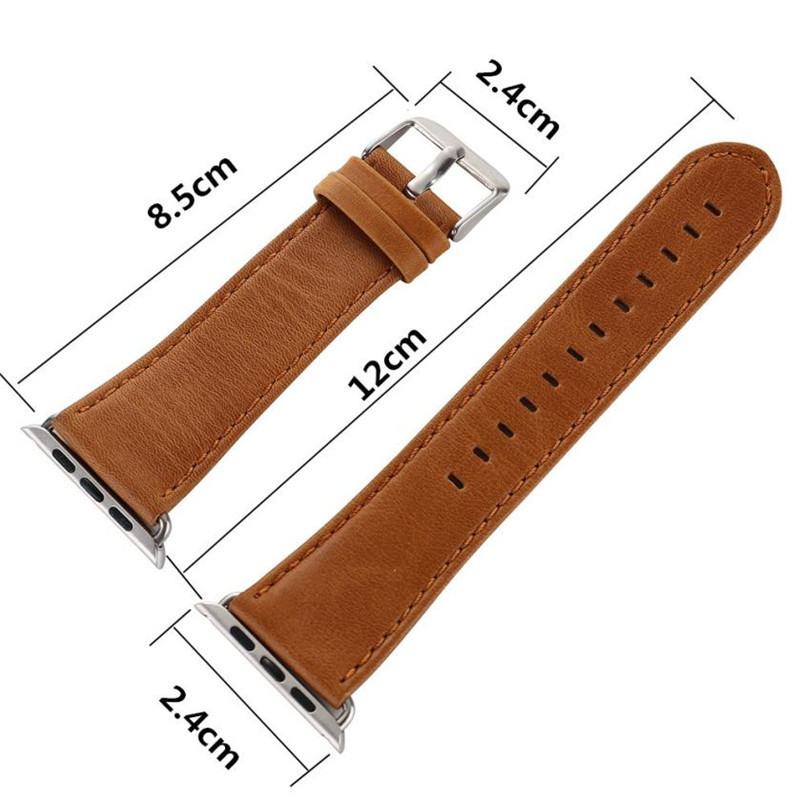 For Apple Watch 38mmLuxury Brand Famous Leather Brown Buckle Wrist Watch Band Strap Belt Correa De Reloj Cuero correa de cuero luxury leather strap replacement watch band with tools for garmin fenix 3 correa sep28