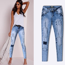Online to buy the European and American fashion streets Ripped Jeans Pencil Pants women big yards