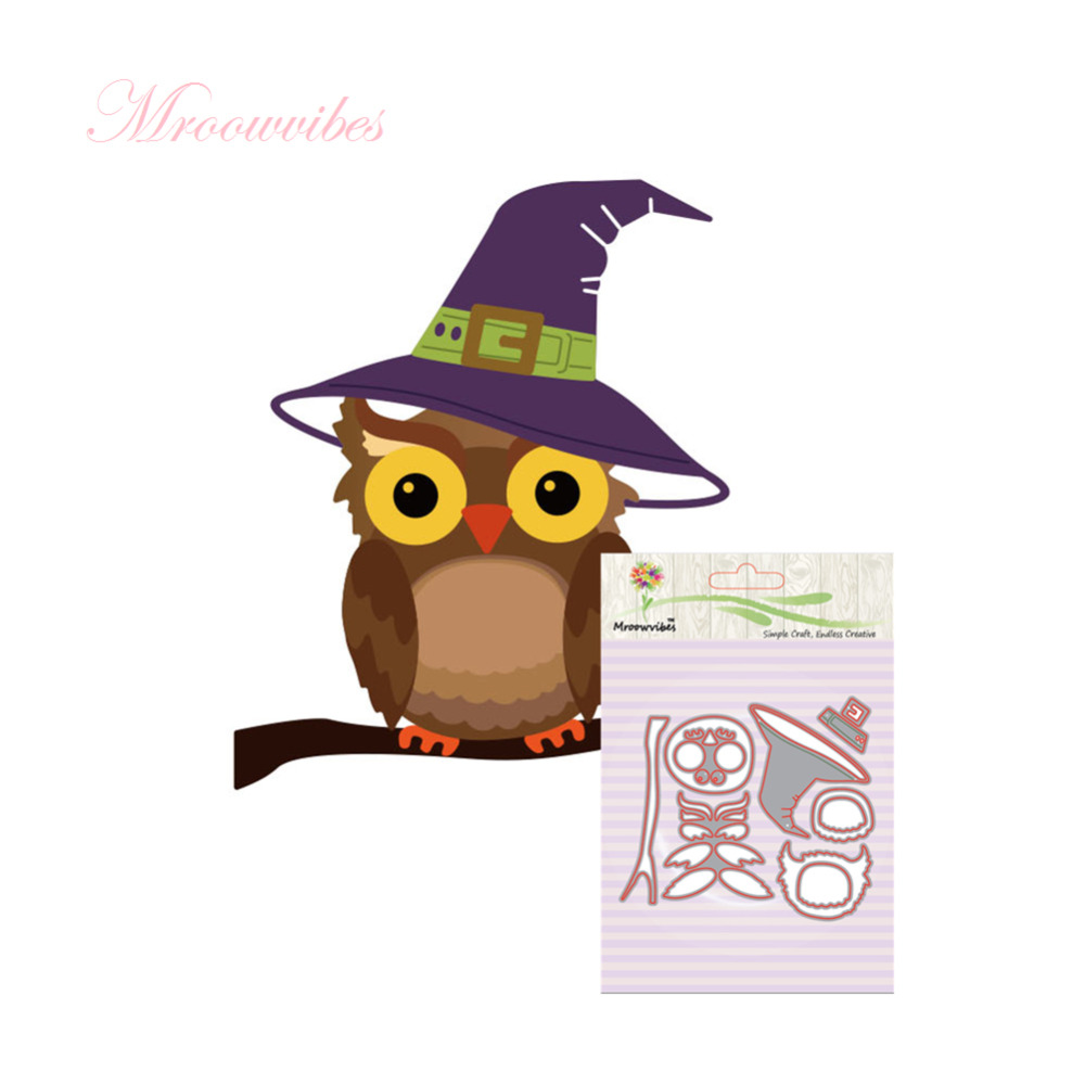 Halloween owl hat metal dies cutting decoration album scrapbooking halloween owl hat metal dies cutting decoration album scrapbooking craft die cuts stamp diy embossing paper card stencil in cutting dies from home garden jeuxipadfo Choice Image