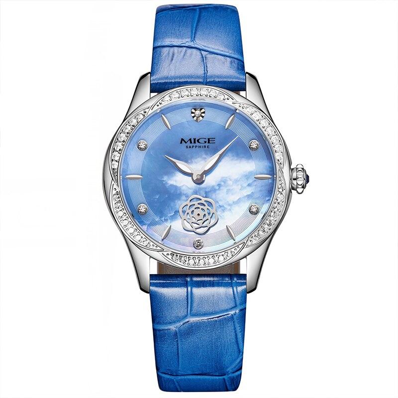 Mige Top Brand Luxury Casual Fashion Ladies Watches Blue Leather Buckle Steel Case Female Clock Quartz Waterproof Women Watch|watch blue|watch brand|watch f - title=