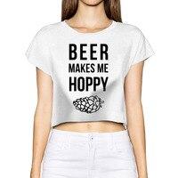 AGARY EASY Beer Makes Me Hoppy Kawaii 2017 Harajuku Crop Top Navel Shirt Women Tops Woman