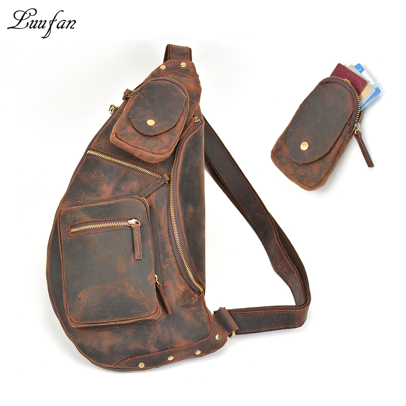 Men s vintage genuine leather chest bag Brown crazy horse leather crossbody bag messenger bag Cow