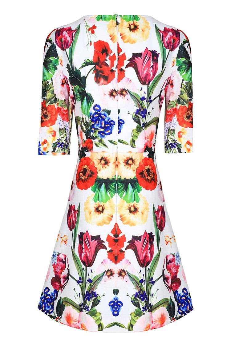 Femmes Blanc Moitié Floral Streetwear Robes 2019 Bouton Qyfcioufu Nouvelle Mode Partie Robe Haute Imprimer Qualité Manches Casual Piste xBWdorCe