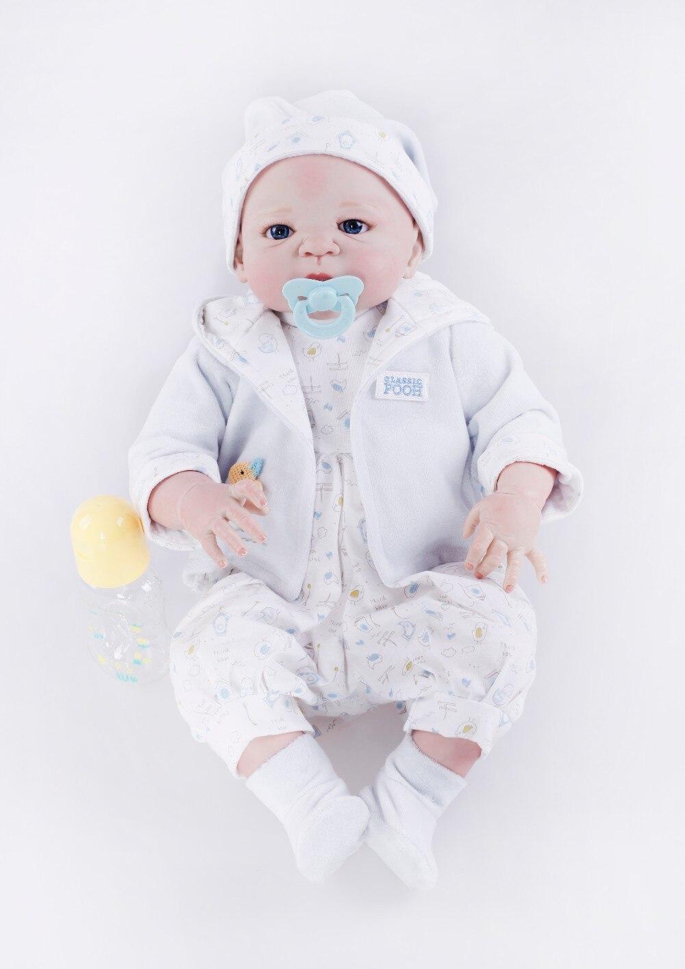 22 pouces corps En Silicone reborn bébé poupée jouets haut de gamme nouveau-né garçon bebe poupée enfant brithday cadeau baignade douche jouer maison jouet