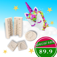 3D Unicorn Horn Ears Eyes Silicone Cake Mold Set Animal Fondant Molds Chocolate Gumpaste Mould Cake Decorating Tools Bakware