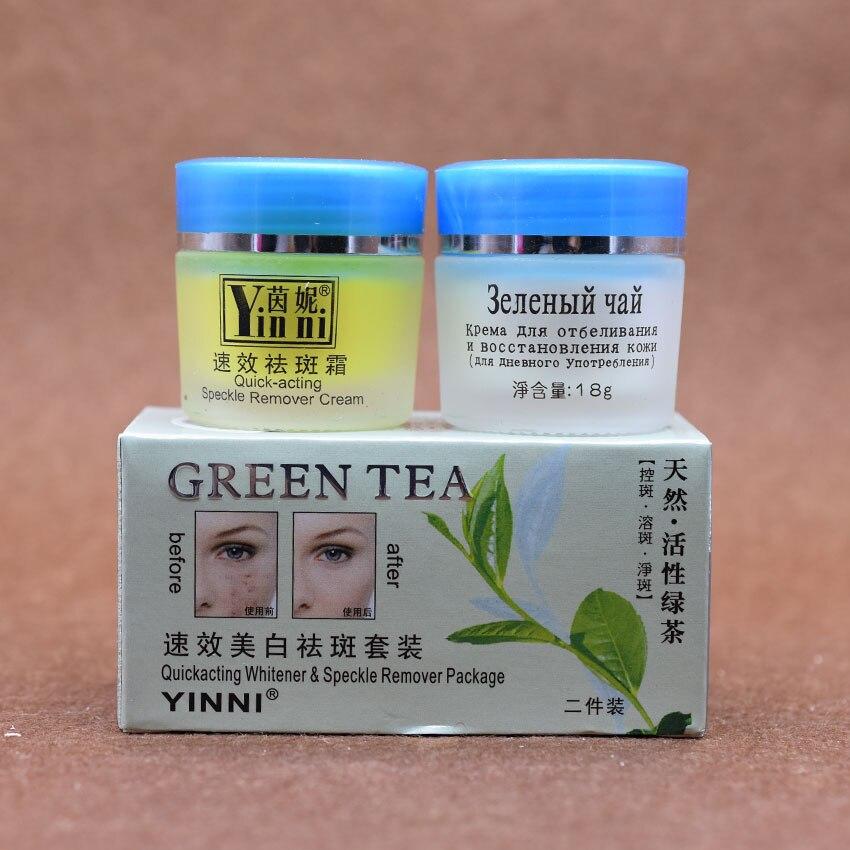 YINNI té Verde contra pecas cuidado de la piel crema para blanquear la cara quit
