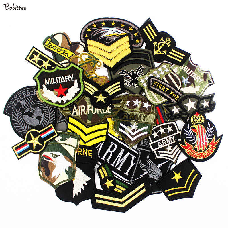 30pcs /lot Army Military Patches for Clothes Embroidered Tactical Morale Badges iron on Stickers for Jeans jacket