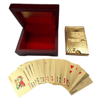 Euro Pattern Playing Cards 24k Gold Plated Full Poker Deck Pure With Box Christmas Gift Free