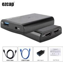 USB3.0 карта видеозахвата микрофон в+ HDMI кабель 4K 1080P игра видео запись для PS4 Xbox tv BOX беспроводной vMix OBS прямая потоковая передача