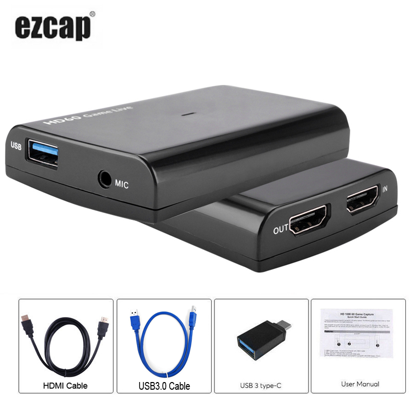 USB3.0 Video Capture Card w/ Mic HDMI Cable 1080P Game Video Recorder for PS3 PS4 Xbox TV BOX Wirecast vMix OBS Live StreamingUSB3.0 Video Capture Card w/ Mic HDMI Cable 1080P Game Video Recorder for PS3 PS4 Xbox TV BOX Wirecast vMix OBS Live Streaming