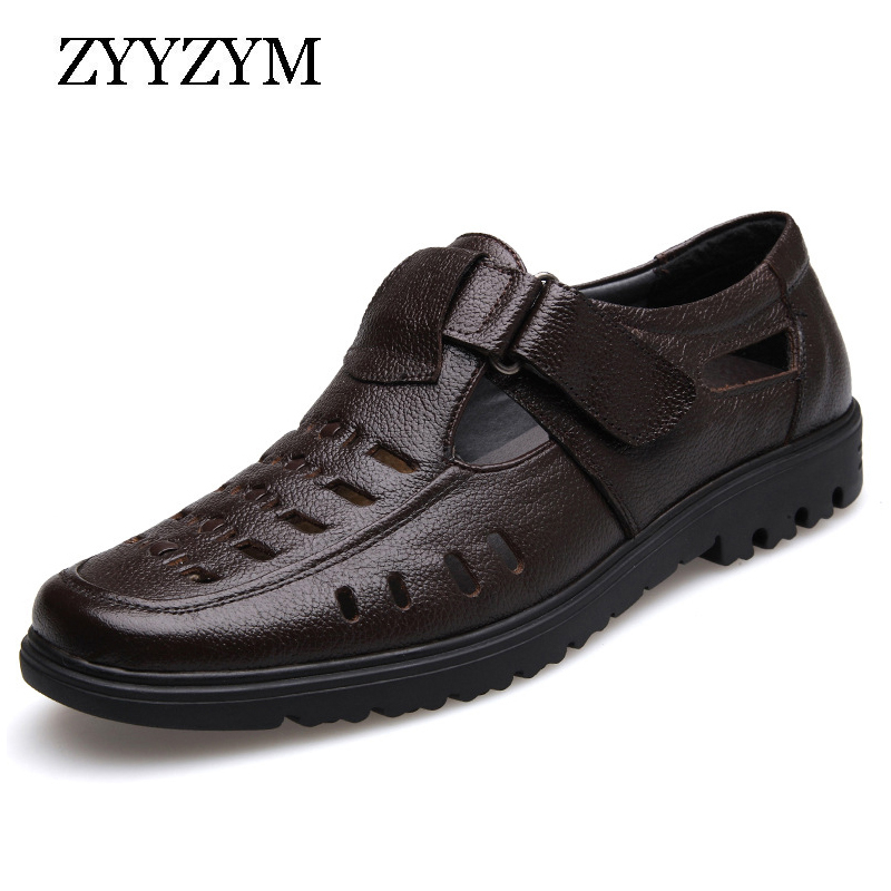 ZYYZYM New 2019 Summer Shoes Men Sandals Genuine Leather High Quality Men's Casual Shoes Male Brand Sandals Non-slip Plus Size