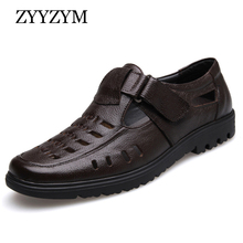ZYYZYM New 2019 Summer Shoes Men Sandals Genuine Leather High Quality Mens Casual Male Brand Non-slip Plus Size