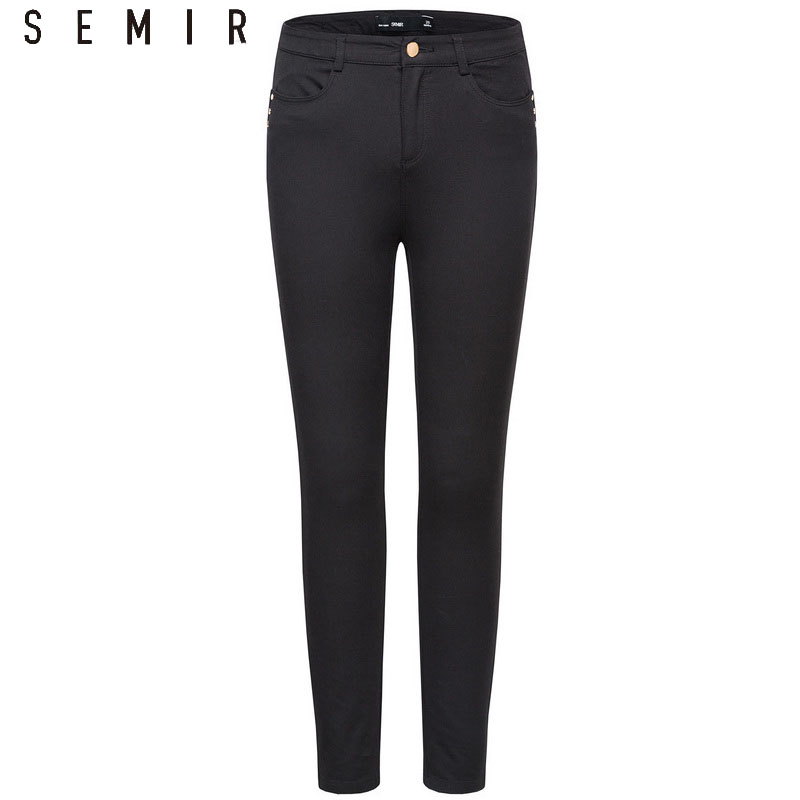 SEMIR Spring Pants 2019 New Women Fashion Version Black Pants Slim Pants Leggings Outside Wear Moisture For Female