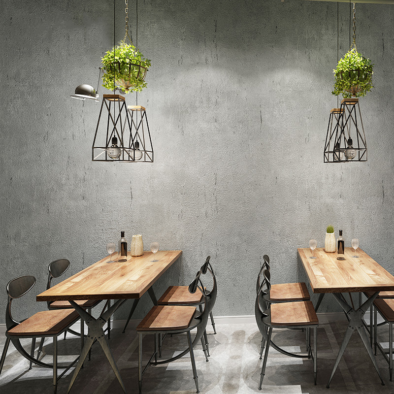 Vintage Wallpaper 3D Solid Color Cement Grey Industrial Style Wall Paper Living Room Restaurant Cafe Bar PVC Waterproof 3D Decor