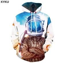 KYKU 3d Hoodies Galaxy Space Hoodie Men Harajuku Hoody Anime Moon Print Astronaut Printed Metal Hooded Casual