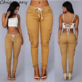 2016 Summer Casual Multi Pocket Pant High Waist Solid Lacing White Army Khaki Shiny Pencil Pants Capris Women Trousers Plus Size