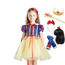 Kids Princess Snow White Costume with Cape Headband Children Mardi Gras Cosplay Party Dress for Girl Halloween Carnival Clothes 2018 kids girl princess snow white cosplay costume dress children girl party dress with oversleeves cloak wg187