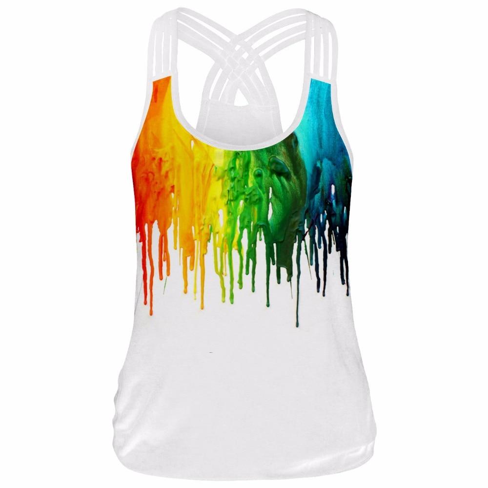 Watercolor Painting Female T-shirt Sport Top Yoga Top Sleeveless Tank Top Women's Sports Shirt Tops Women Fitness T shirt carmina campus