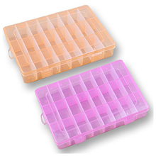 2x Plastic Storage Box 24 Compartments Jewelry Earring Tool Containers
