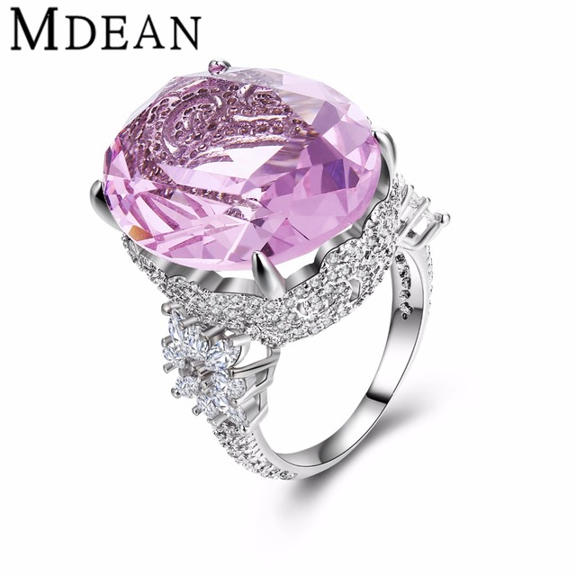 MDEAN Pink Stone White Gold Plated Wedding Rings For Women Engagement vintage big CZ diamond jewelry Ring fashion Bague MSR812