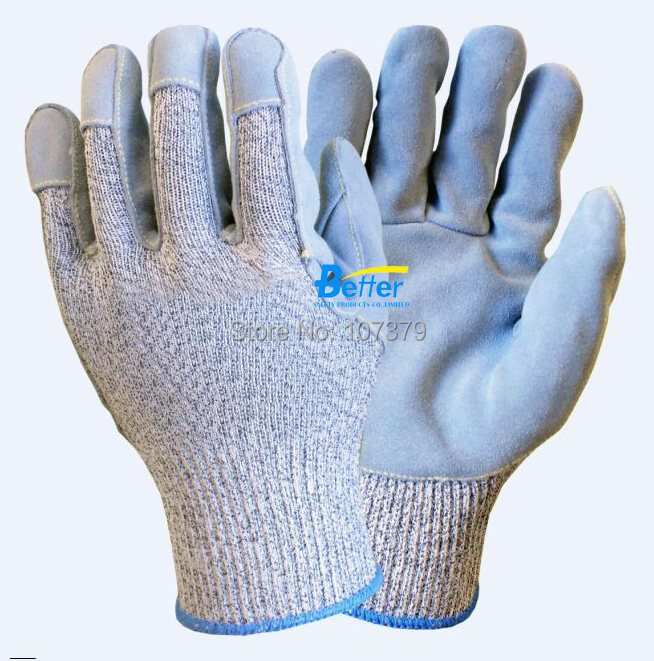 Glass Handing Safety Glove HPPE Anti Cut Labor Glove 13 guage HPPE Glove Cow Split Leather Cut Resistant Work Glove anti cut safety glove hppe cut resistant work glove