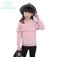 Zoe Saldana Girl S T Shirt 2017 New Autumn Baby Girl Clothes Teenager Casual Pearl Patchwork