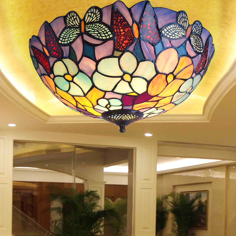 Mediterranean Sea stained glass tiffany European style Baroque lilac Ceiling lights 30 40 50cm LED bulbs lamp bedroom lighting 5 mediterranean tiffany flower hanging lights vintage stained glass shell bar cafe hallway ceiling lamp fixtures lighting cl254