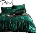 Abelhinhas imprimir tecido de algodão Egípcio conjunto de cama Queen Size capa de edredão folha plana fronha verde