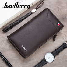 Baellerry Men Business Solid Long Wallet Rope Handbag Coin Pocket Note Compartment Card Holder Photo Holder Wallet Zipper PU Bag baellerry men solid black long wallet pu leather zipper n rope wallet coin pocket card holder photo holder business wallet men
