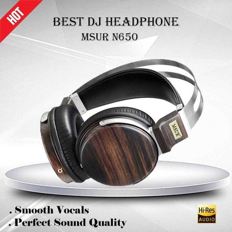 Original MSUR N650 Wooden Metal DJ Headphones Stereo HIFI Sport Music Earphone Headphone Beryllium Alloy Driver Leather Headset