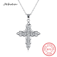 Classic Large Zircon Cross Pendant Necklace For Women Silver Color Jewelry With 40cm Length Chain