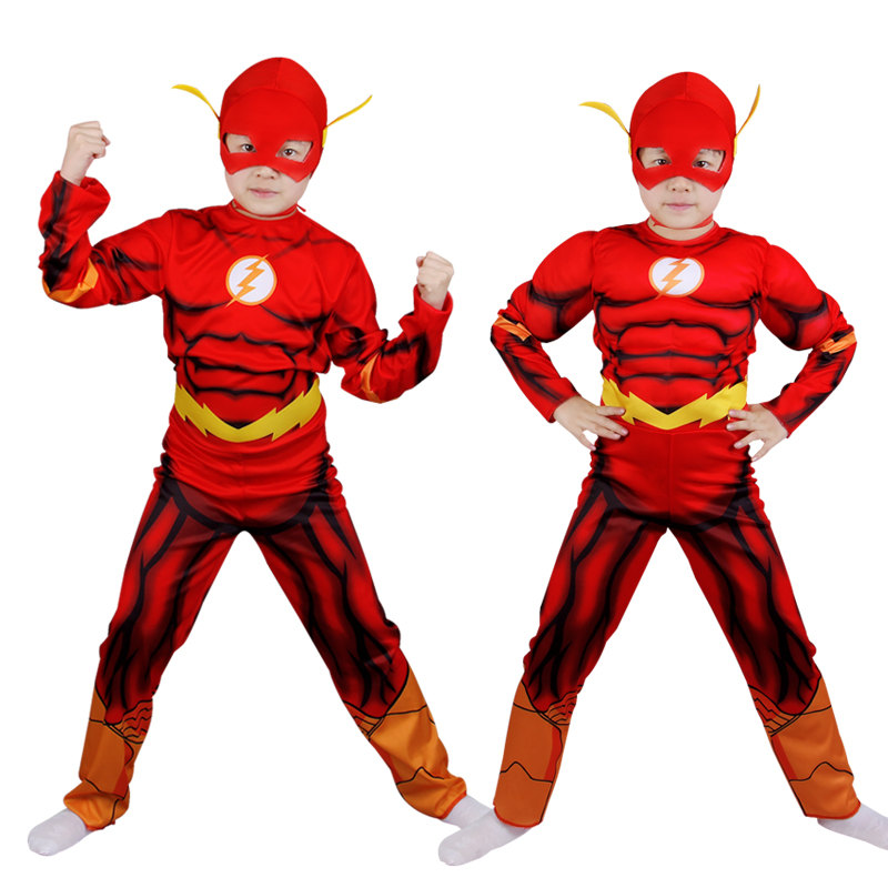 Free shipping The Flash Muscle Superhero Fancy Dress Kids Fantasyly Comic Movie Carnival Party Halloween Flashman Dress Up