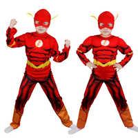 Freies verschiffen Die Flash Muscle Superhero Fancy Kleid Kinder Fantasyly Comic Film Karneval Party Halloween Flashman Kleid Bis