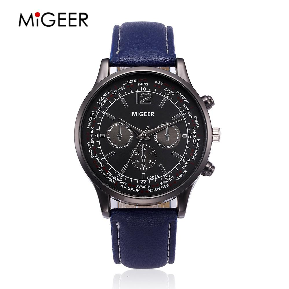 ac63befbec2 MIGEER Liga de Luxo Marca Men Watch Pulseira de Couro Relógio Masculino  Analógico Quartz Sport Watch Men relógio de Pulso Casual horloges mannen  2018 em ...