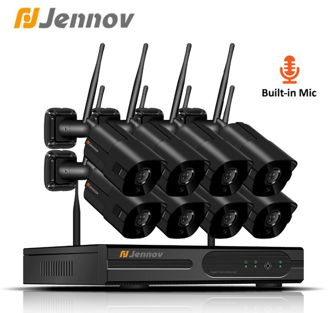 Jennov 4CH 1080P Outdoor IP Camera CCTV System Video Surveillance 2MP Security Camera System Wifi NVR Kit CCTV Set Audio System