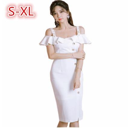La Femmes À De 2018 Robes Gaine Blanc Femme Robe Apricot Midi Volants Dames Mode Mince Sexy Courroie blanc Moulante D'été Élégante ZB54q4g