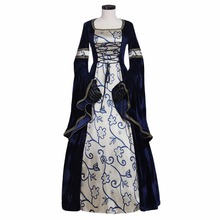 Custom Made Women's Dark Blue&Silver Renaissance Wedding Dress Medieval Cosplay For Carnival Party