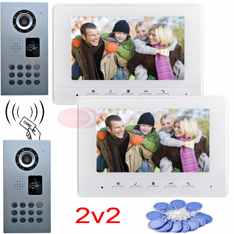 2v2 Video door phone intercom system rfid password unlock 2 waterproof ip65 ccd cameras night vision 7 color indoor monitor2v2 Video door phone intercom system rfid password unlock 2 waterproof ip65 ccd cameras night vision 7 color indoor monitor