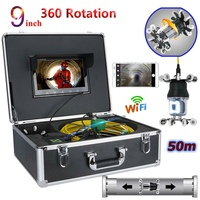 9 inch WiFi Wireless Pipe Inspection Video Camera Drain Sewer Pipeline Industrial Endoscope IP68 360 Degree Rotating Camera