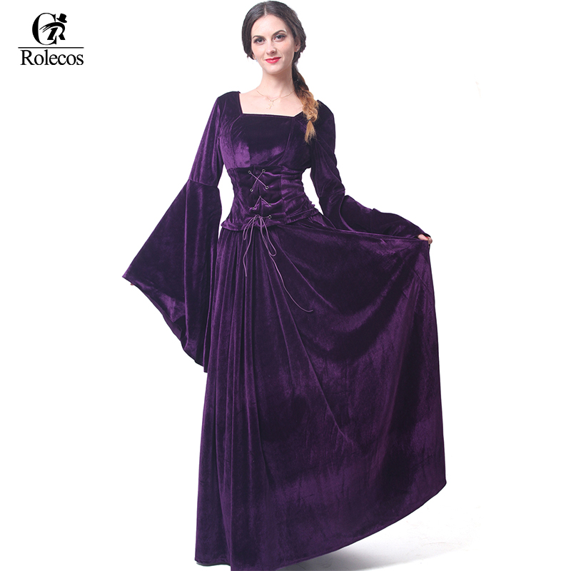 ROLECOS Medieval Renaissance Victorian Women Evening Dresses Medieval Noble Costumes Masquerade Party Ball Gown Dresses Costumes