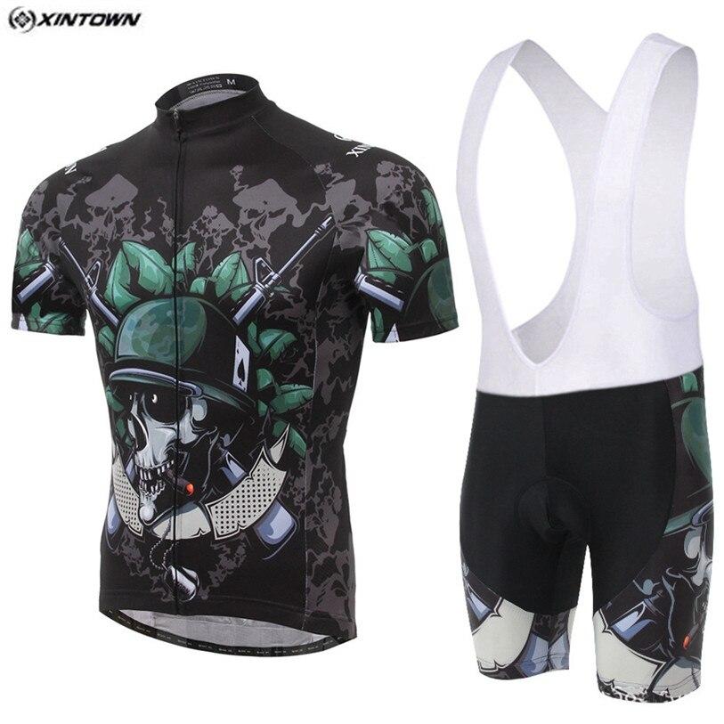 HOT XINTOWN Pro vélo maillots Shorts ensembles hommes squelette soldat vélo vêtements costumes vêtements de cyclisme chemises vtt Jersey Shorts