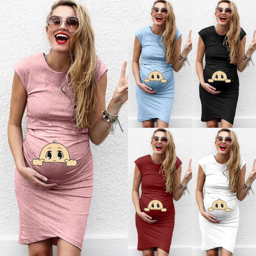 New 2019 Women Casual Print Pregnant Maternity Dress Female Short Sleeve Maternity Props Casual Dresses Clothes Vestido