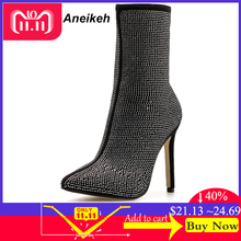 Aneikeh 2018 New Autumn Winter Glitter Shoes Woman Chelsea Boots Sexy Pointed  Toe 11cm Thin High 3343bc85b43d
