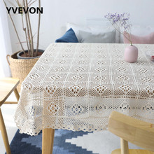 White Decorative Table Cloth Lace Tablecloth Cotton Floral Rectangular Dining Cover Wedding Decor Translucent Top
