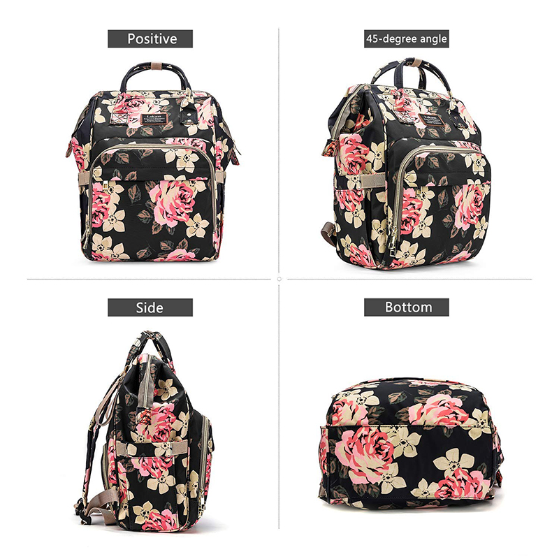 Fashion Baby Diaper Bag Backpack Floral Waterproof Multi Functional Travel Nappy Bag Include Changing and Pad Insulated Pouch in Diaper Bags from Mother Kids