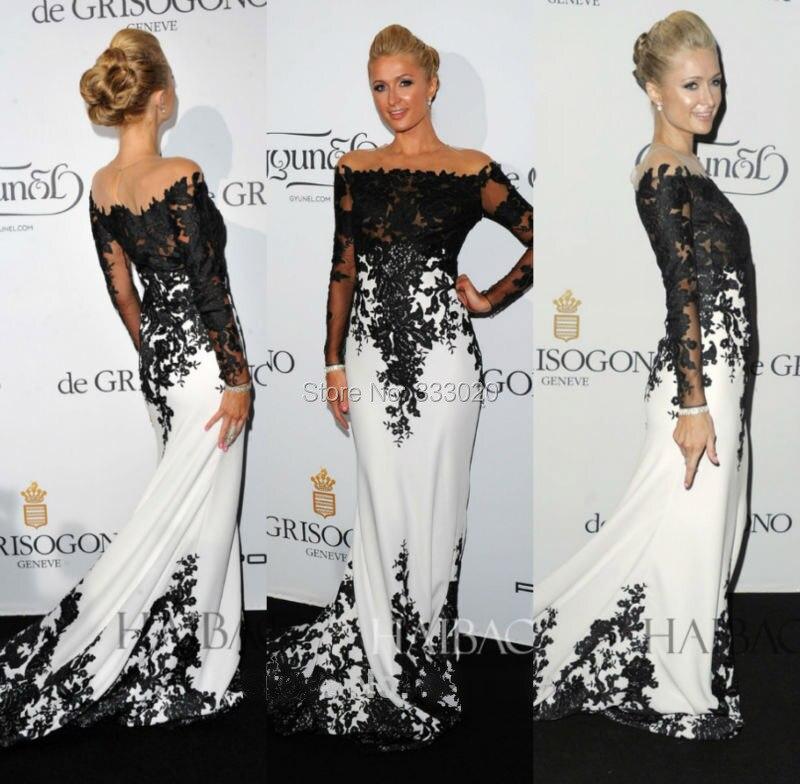 W011-Exquisite-Mermaid-Applique-Lace-Black-And-White-Paris-Hilton-Celebrity-Long-Sleeve-Evening-Dress