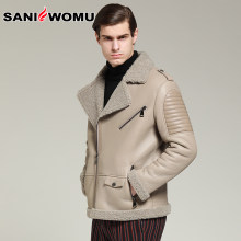 Top Quality Mens Winter Lamb Wool Motorcycle Jacket Thick Sheep Real Fur Coat Male Plus Size Shearling Biker Overcoat(China)