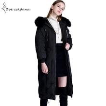 Zoe Saldana 2017 Estilo Longo Casacos de Inverno Grossa Jaqueta Com Capuz Duck Down Coats Mulheres Natural Gola De Pele Parka